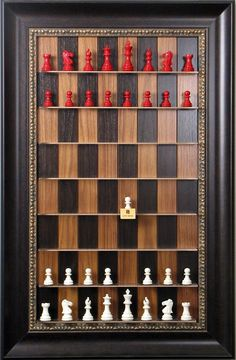 Straight Up Chess Set: Vertical wall fixable chess board is an innovative way to play and display your prized chess set.