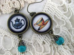 Blue Teapot and Teacup Earrings by BitsandOddments on Etsy