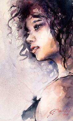Watercolor Portrait Painting, Watercolor Face, Watercolor Illustration, Painting & Drawing, Watercolor Trees, Watercolor Artists, Watercolor Landscape, L'art Du Portrait, Art Sketchbook