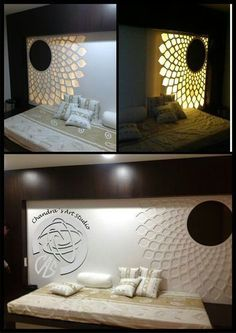 3 Excellent Clever Ideas: False Ceiling Lights Surround Sound false ceiling living room with chandelier.False Ceiling Bedroom Modern false ceiling living room with chandelier. Bed Back Design, Bed Design, Wall Design, Room Partition Designs, False Ceiling Living Room, Bedroom Furniture Design, Pooja Rooms, False Ceiling Design, Bed Wall