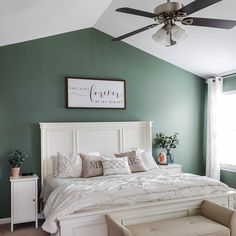 Privilege Green paint color SW 6193 by Sherwin-Williams. View interior and exterior paint colors and color palettes. Get design inspiration for painting projects. Green Bedroom Paint, Green Master Bedroom, Bedroom Wall Colors, Accent Wall Bedroom, Bedroom Color Schemes, Small Room Bedroom, Home Bedroom, Small Rooms, Bedroom Ideas