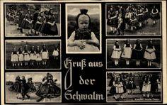 Ansichtskarte / Postkarte Gruß aus der Schwalm, Hochzeitszug, Hessische Frauentrachten, Tanz #Schwalm