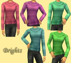 ModTheSims - 10 Recolors of Migamoo's Comfy Sweater for Teens