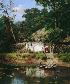All Things Ukrainian - Art - 'Ukrainian House' Watercolor Landscape, Landscape Art, Landscape Paintings, Watercolor Art, Ukraine, Ukrainian Art, Cottage Art, Russian Art, Beautiful Paintings