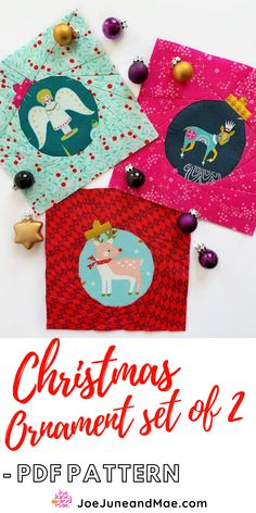 Christmas Ornament Set of 2 Quilt Block Pattern. Christmas is the most wonderful time of the year.... In addition to decorating your tree with ornaments, decorate your quilt with some, too! #joejuneandmae #quiltideas #quiltpatterns #quiltideasunique #quilts #quilting