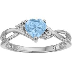 10k White Gold Simulated Aquamarine & Diamond Accent Swirl Heart Ring ($257) ❤ liked on Polyvore featuring jewelry, rings, blue, white gold jewellery, blue jewelry, white gold heart ring, heart jewelry and heart shaped rings