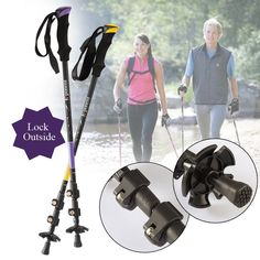 Go Into the Nature, Professional Anti Shock Hiking / Walking / Trekking Poles, 3 Sections 25/53 Inches Long, Quick Lock Adjustable All Terrain Trekking Hiking Pole, 2 Colors Available(A Pair) * You can get more details by clicking on the image.