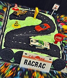 Race Car Track Cake | Now, our 2-year old is licensed to drive us crazy! ^_^