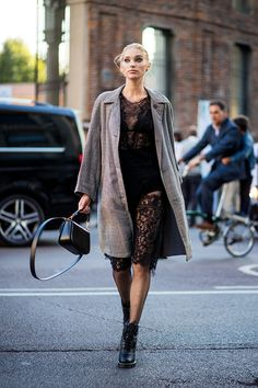 milan fashion week street style spring 2018 elsa hosk black lace dress grey coat