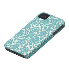 French Ornament Vintage Floral Damask Blue, White iPhone 4 Covers