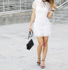 White eyelet dress, black choker look for summer #choker #eyelets