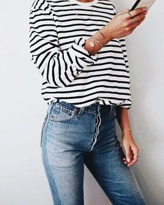 dark denim and striped shirt casual street style