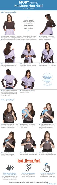 How to: the Newborn Hug Hold. Check out our youtube channel for video! #mobywrap…