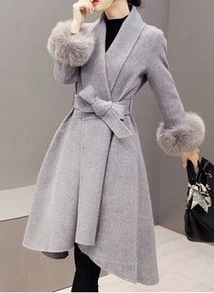 JNZZI Women Fashion Fur Tunic Long Coat Large Swing Irregular Wrap Cardigan Outerwear with Belt Manteau Look Fashion, Winter Fashion, Fashion Coat, Cheap Fashion, Sporty Fashion, Women's Fashion, Dress Fashion, African Fashion, Fashion Women