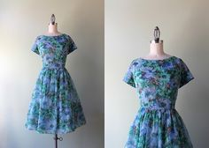 50s Party Dress / Vintage 1960s Sheer Chiffon Party Dress / Floaty Floral Chiffon 60s Dress on Etsy, $74.00