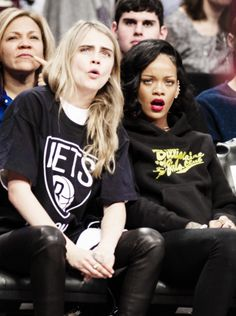 Rihanna and her friend Cara Delevingne Um, can we hang out with you guys?