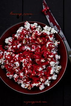 "Bloody Popcorn - I had some foods set up in the ""carnevil"" haunt as decoration and this was one of them."