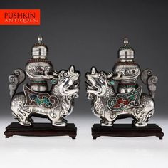 ANTIQUE 20thC CHINESE SOLID SILVER, CORAL & TURQUOISE QILIN STATUES & URNS c1930