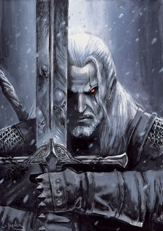 the witcher fan-art The Witcher Wild Hunt, The Witcher Game, The Witcher Geralt, The Witcher Books, Witcher Art, Dark Fantasy Art, Fantasy Artwork, The Witcher Wallpapers, Witcher Tattoo