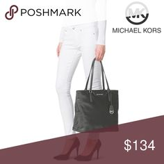 "NWT Michael Kors 👜 The spacious Large Morgan tote is perfect for a continent-crossing jet setter, commuting executive, hip multi-tasking mama, or a stylish educator. The shiny nylon makes it as fashionable and functional. Top-zip closure. Interior zipper, divider, smartphone and padded tablet pockets. Protective metal feet. Nylon/leather trim. 14""W x 12""H x 6""D. (Interior capacity: large.) 9"" strap drop. Graphite/Silver. NWT. MICHAEL Michael Kors Bags Totes"