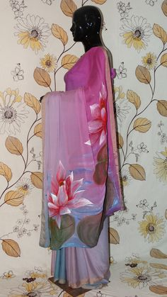 Rang Riwaaz Pure Georgette Silk Mauve and Grey Saree - Hand painted lotus pond on pallu RangRiwaaz