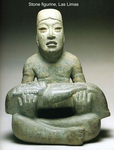Las Limas Monument 1 (1000-600 BC). Featured on: UNHOLY - From the Shadows. (Las Limas Monument 1 is a greenstone figure of a youth holding a limp were-jaguar baby. What these sculptures symbolised to the Olmecs is not clear. Some researchers believe that these sculptures relate to myths of spiritual journeys or human origins. Others find that the limp depiction of the were-jaguar baby denotes child sacrifice.)