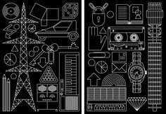 A series of simple geometric drawings of some of Anthony's favorite things, inspired by a technical drawing manual.(Self-published as limited-edition giclée prints, 2004)