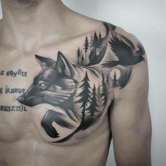 lobo-pássaro-floresta-tatuagem-elaborado-design