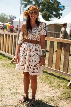 White Crochet Dress, Bonnaroo