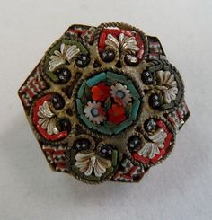 Antique ITALIAN Micro MOSAIC Pin BROOCH Made in ITALY Glass MILLEFIORI Vintage