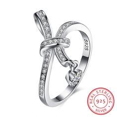 925 Sterling Silver Zircon Silk Ribbon Ring