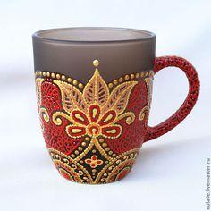 """Купить Кружка """"Индия в красном"""" - орнамент, авторская роспись, роспись контурами, индийский узор"""
