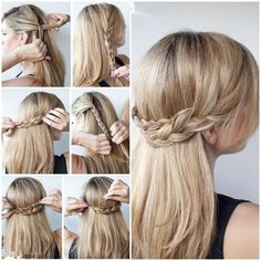half up half down hairstyles for long thick hair - Google Search