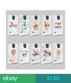 Cases & Covers Personalised Marble Printed Glitter Unicorn Initials Phone Case For Samsung #ebay #Electronics