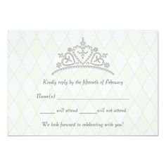"Quinceanera Tiara on Diamonds RSVP cards 3.5"" X 5"" Invitation Card"