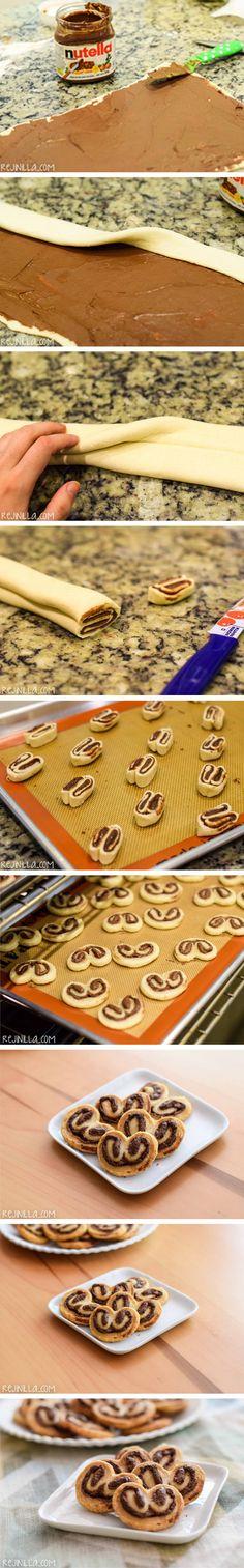 palmeritas, orejitas, palmeras, chocolate, avellanas, crema, nutella, receta