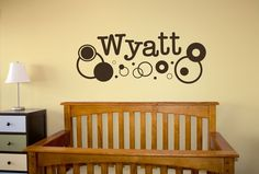 Wall Decal  Name and Circles Decal by designedbeginnings on Etsy, $25.00