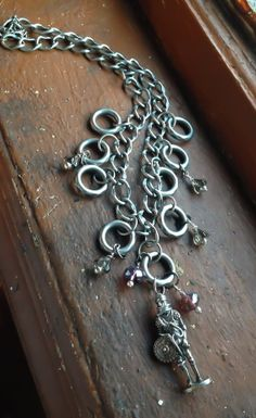 The Hanging Knight Silver Czech Glass Crstals Necklace by Eldwenne, $25.00