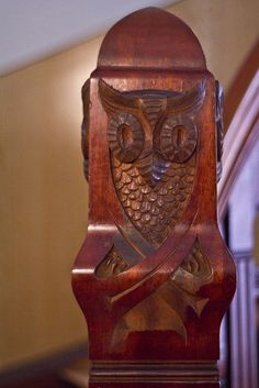 Owl Carved Staircase, Art Nouveau Centre, Alesund