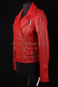 £130 - Ladies eternity red washed soft nappa lambskin leather biker motorcycle style blouson jacket