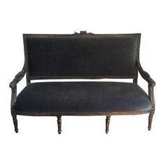 Vintage Black Velvet Studded Settee