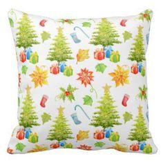 Christmas Throw Pillows in Watercolor | Watercolor Home Decor