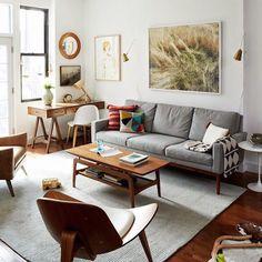 Modern living room with desk