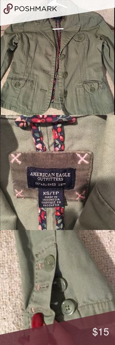 "American Eagle jacket Army/Olive green. Really cute. Looks great. Excellent condition. Looks so cute layered with a scarf and rolled up bf jeans!! Very ""Jennifer Aniston-y"".(Can't fit anymore,😳""chest gain"") American Eagle Outfitters Jackets & Coats Blazers"