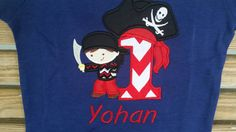 Pirate Boy With Sword With Number Bandana Patch Birthday Shirt by fabuellaboutique. Explore more products on http://fabuellaboutique.etsy.com