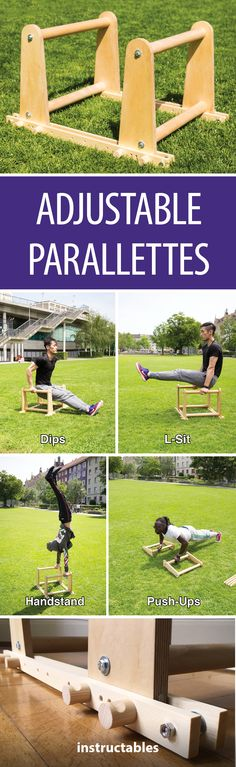 Adjustable Parallettes #woodworking #exercise