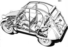 Citroën 2CV Cutaway Drawing Cutaway, Citroen Traction, 2cv6, Classy Cars, Car Illustration, Search And Rescue, Automotive Art, Amazing Cars, Concept Cars