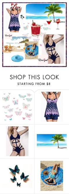 """""""Rose gal  14--Swimwear"""" by fatimazbanic ❤ liked on Polyvore featuring Brewster Home Fashions"""