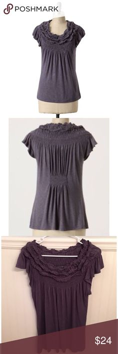 "One September M Anthropologie Whipped Topping Top One September M Anthro Whipped Topping Top🔸 Size M, Size tag removed - purchased for a size medium 🔸Thick layers of creamy textured jersey pile 🔸Smocked frills atop a free-flowing body🔸Polyester & rayon🔸 Pre owned  used condition! 🔸Bust: 16.5"" across the front, lying flat. Has stretch!🔸Length: 25"" from shoulder to hem. Anthropologie Tops Tees - Short Sleeve"