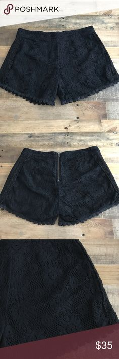 "Free People Crochet Shorts Black Lace Size 0 Excellent pre-owned condition, no flaws!  Waist is 14"" flat Rise is 9.5"" Inseam is 3.5"" Free People Shorts"
